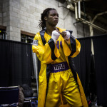 Claressa gets warm before fighting in the semifinals at the PAL tournament in Toledo, Ohio. A year ago, Claressa fought her first non-junior amateur fight at PAL, qualifying her to compete i nthe Olympic Trials, which eventually led her to the Gold Medal in the Olympic Games. This is her right before her first fight since the Olympics.